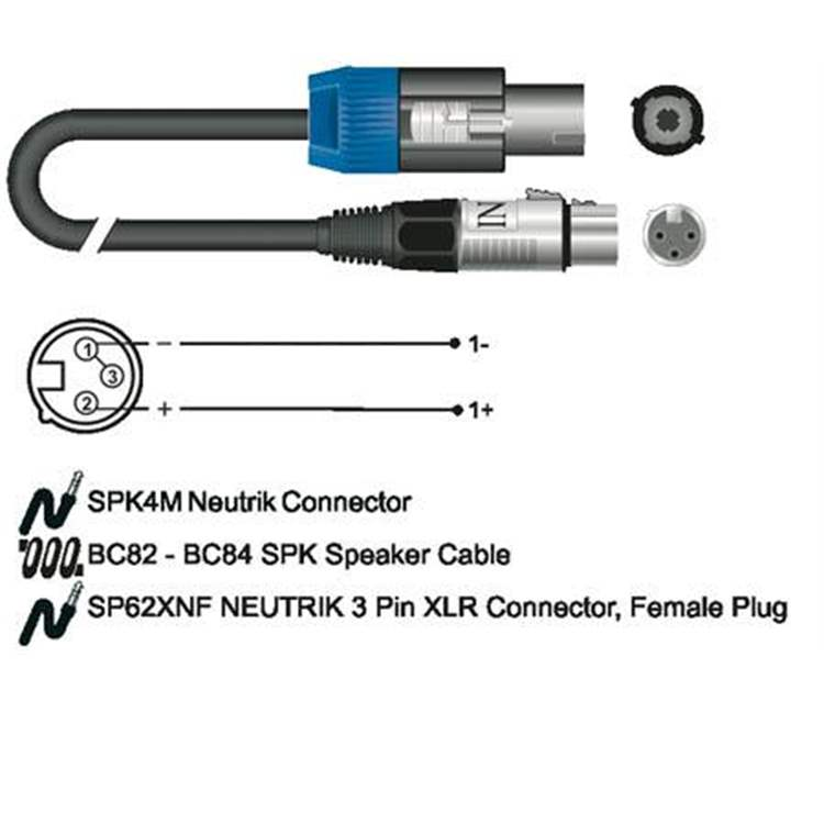 Inco INCO G125G X-LEAD SC91GD series speaker cable, Speakon 4 poles female - XLR 3 poles female / 10 mt