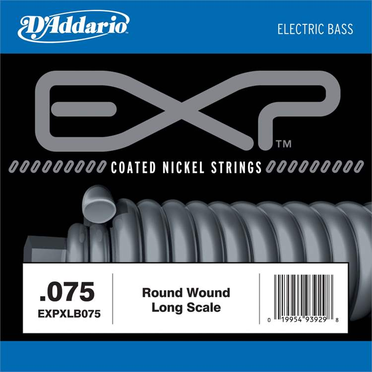 daddario D'ADDARIO EXP-XLB-075 - EXP Coated Nickel Round Wound Bass Guitar Single String, .075