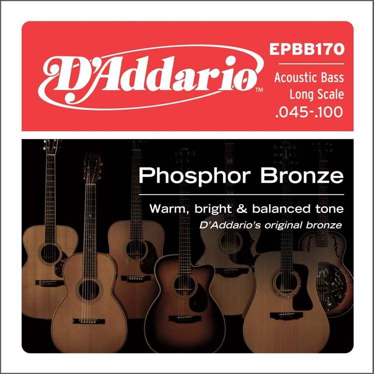 Daddario D'ADDARIO EPBB170 - Phosphor Bronze Acoustic Bass Strings, Long Scale, 45-100